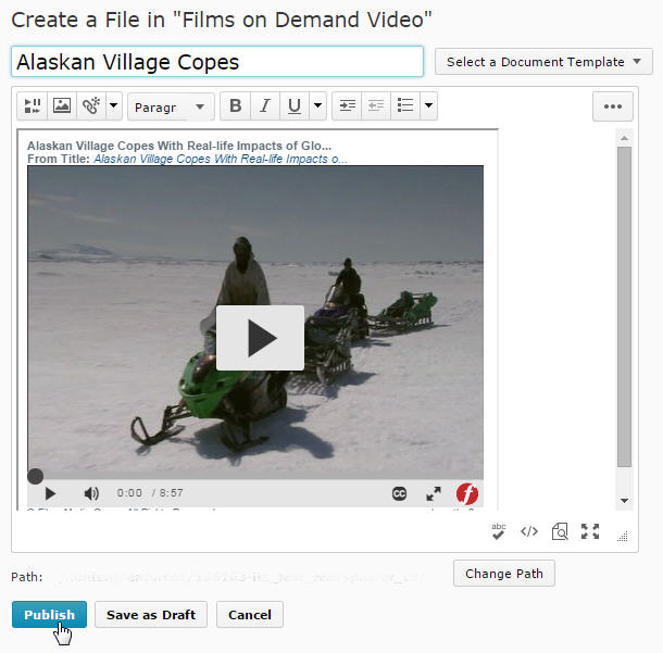 click to publish