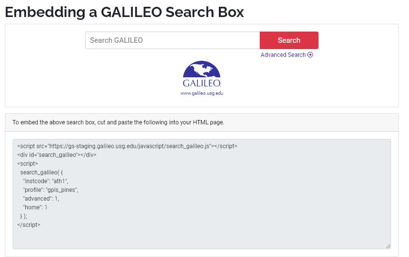 Embedded GALILEO Search Box