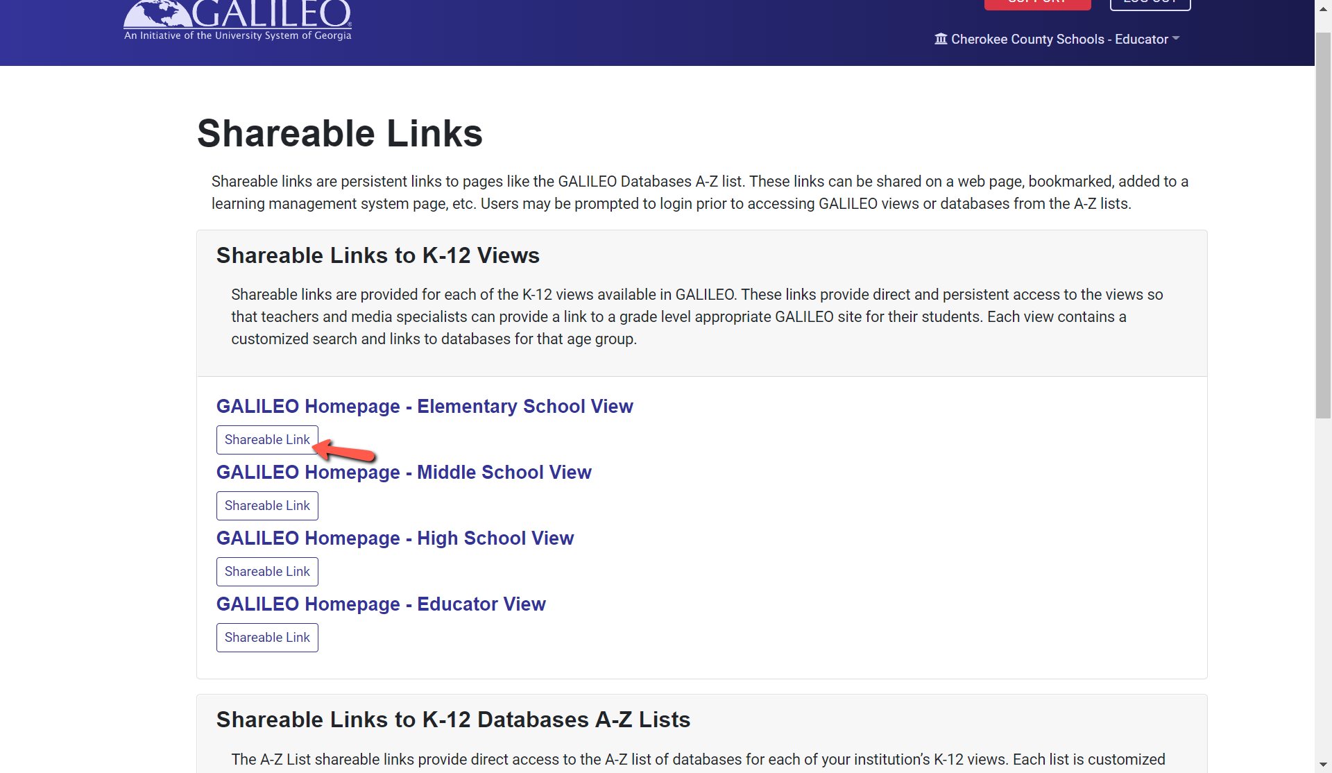 shareable link button
